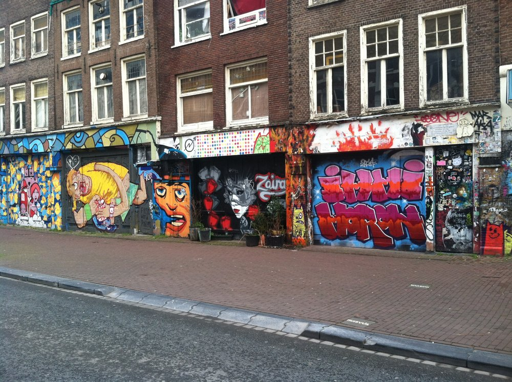Graphic and sometimes semi-disturbing graffiti art lines the streets.