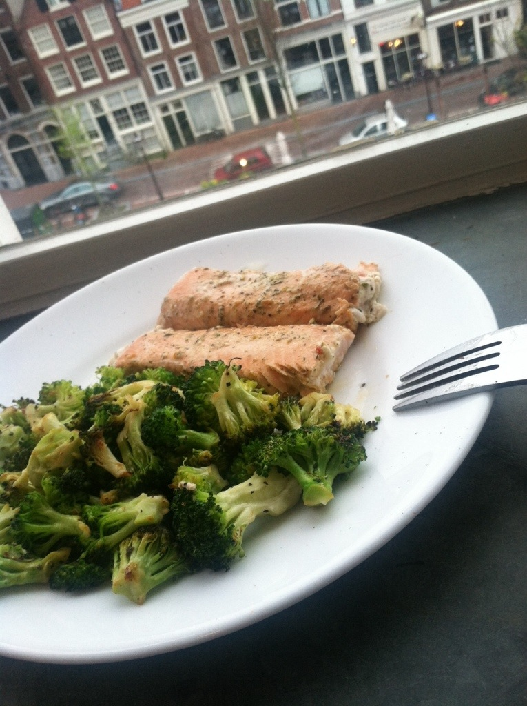 Lemon Herbed Salmon and Roasted Broccoli
