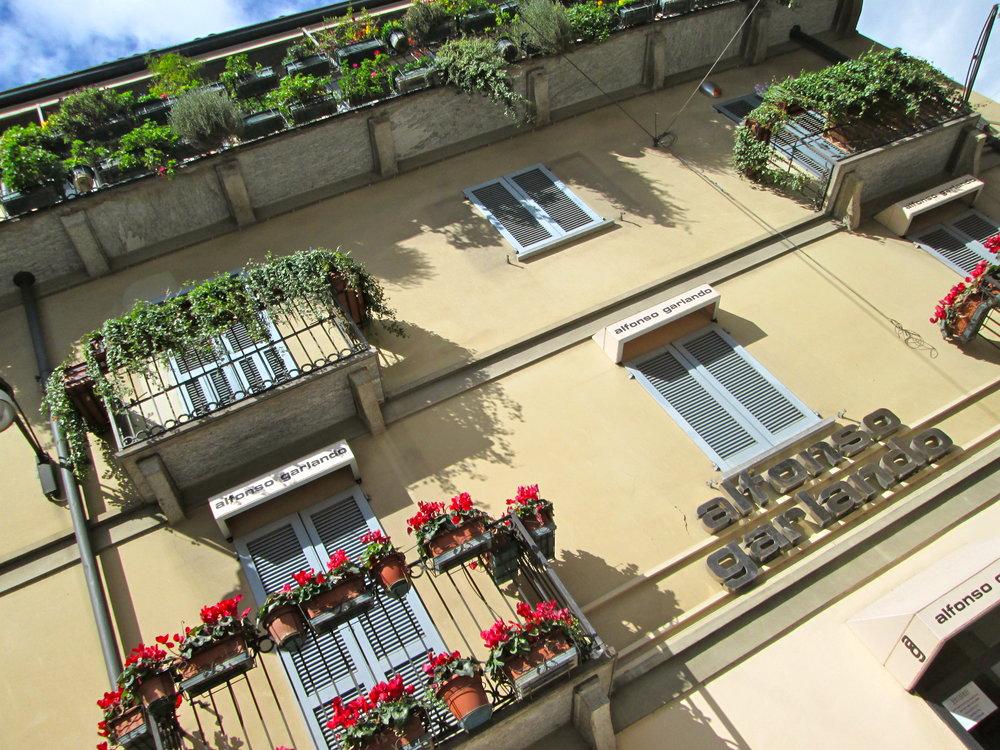 Preetty balconies in Milan.