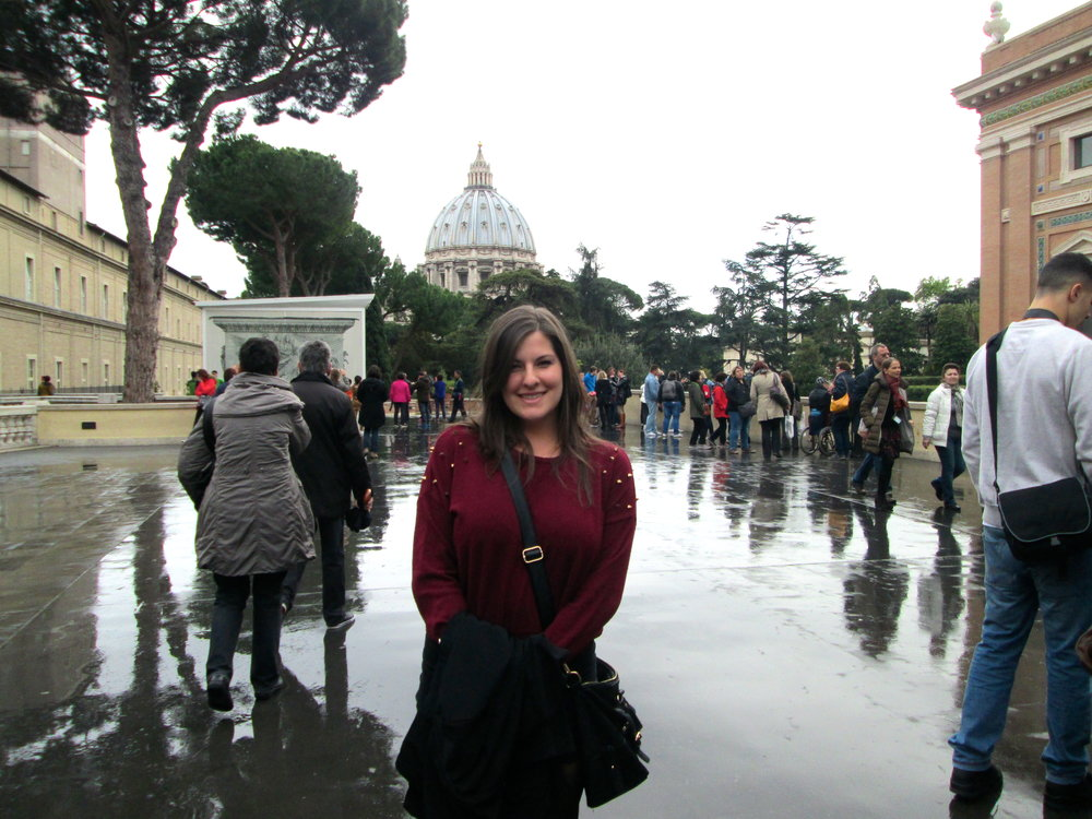 Posin' in the Vatican City, backdrop courtesy of St. Peter and his church.