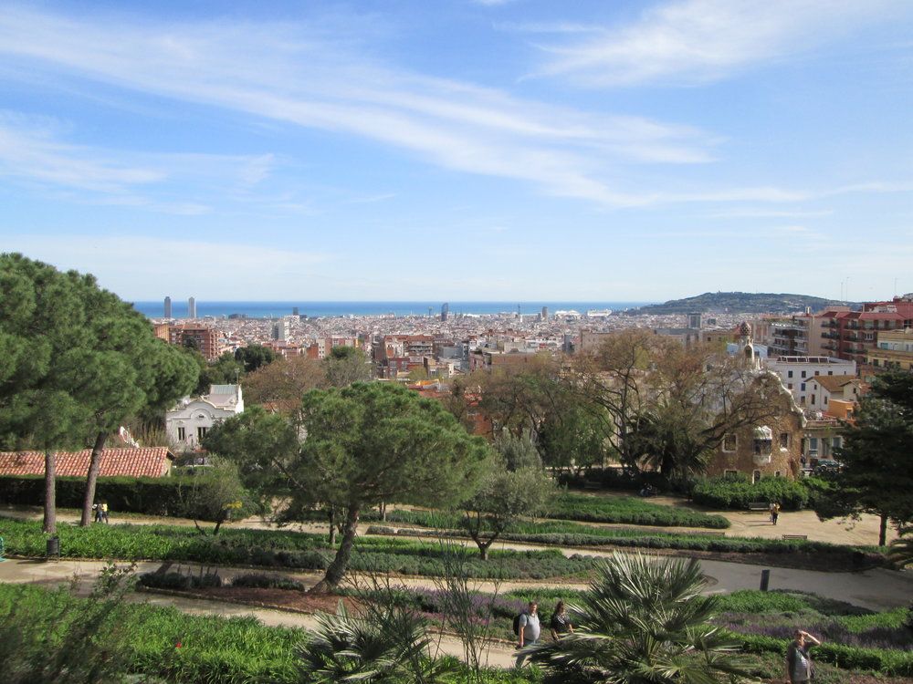 Parc Guell views of the ocean and city.