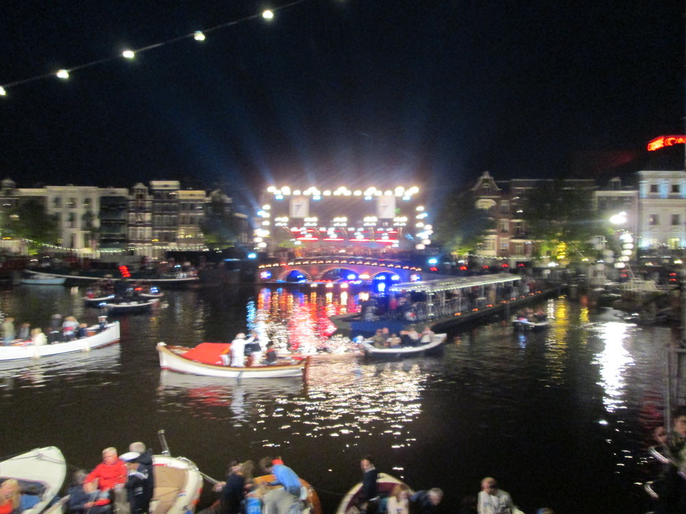 Amazing floating stage and light setup for the Concert on the Amstel.