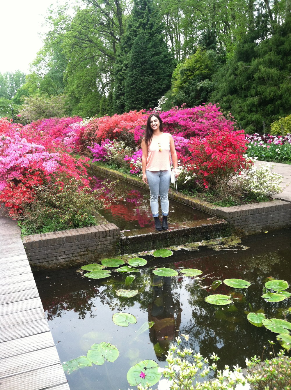 Awh, Jacqueline amidst pretty flowers.