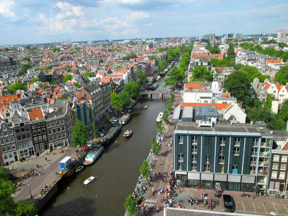 View of the Prinsengracht from de Westertoren (tower of the Westerkerk).
