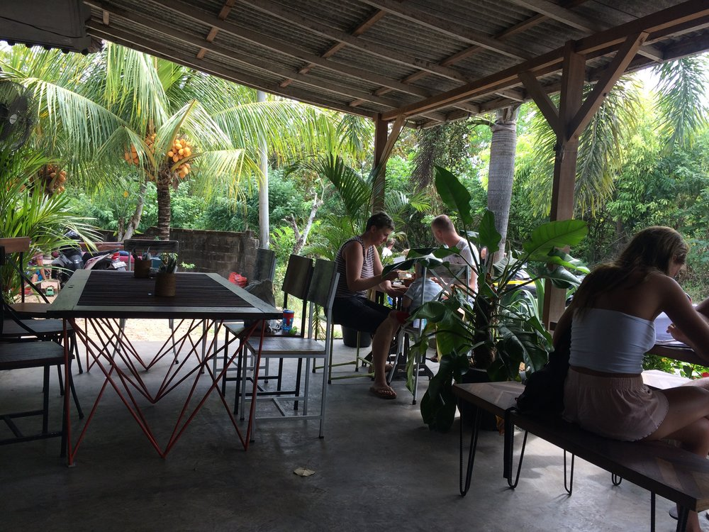 The outdoor patio at Sukka.