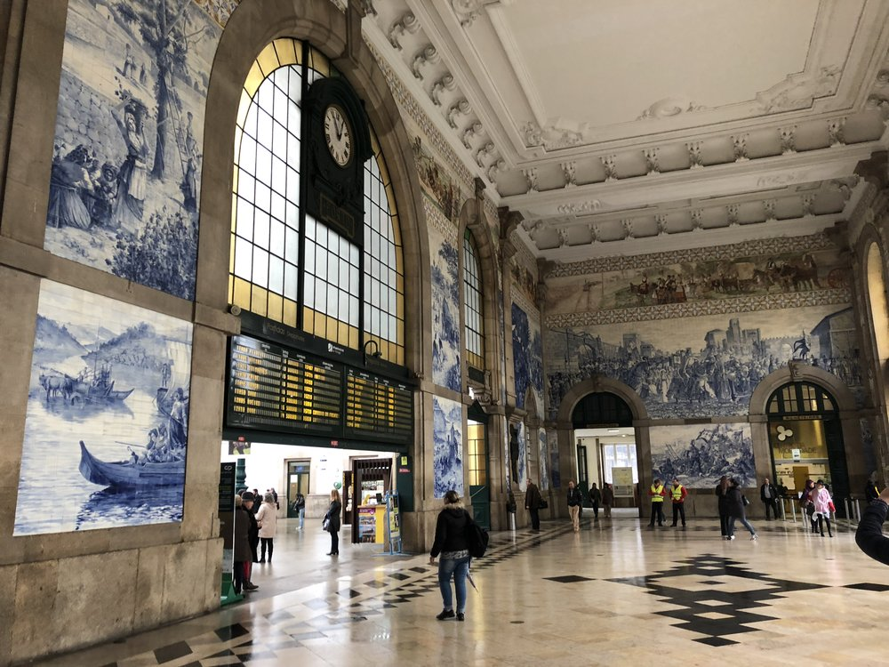 The walking tour starts inside the Porto train station with an explanation of the beautiful tiles that Portugal is known for.