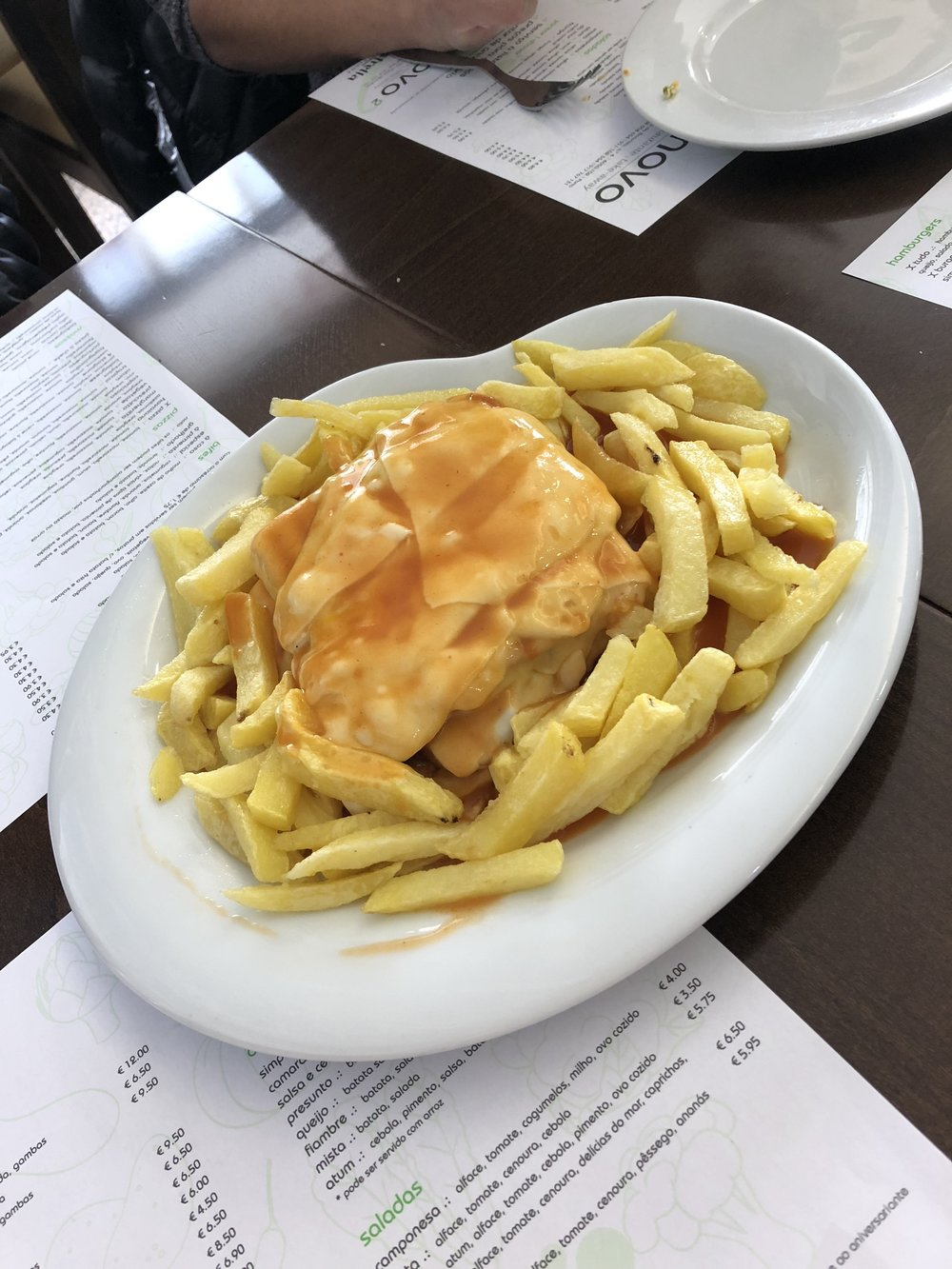 "Traditional Portuguese sandwich called Francesinha. Described by our tour guide as a ""croque monsieur on steroids."""
