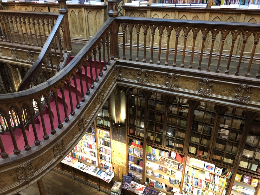View of Lello from the top floor. I spent a good hour here just picking up books and reading them in the little love seats.