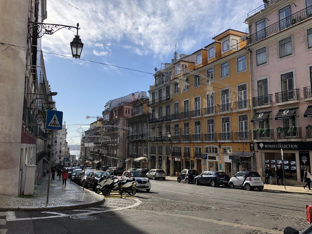 Street view of downtown Lisbon. We finally found the blue sky here!