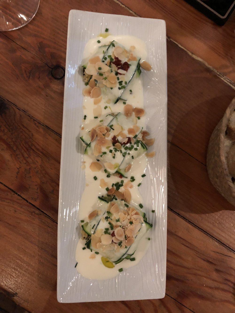 Huge fan of the vegan zucchini ravioli at Sensi Gourmet Tapas.