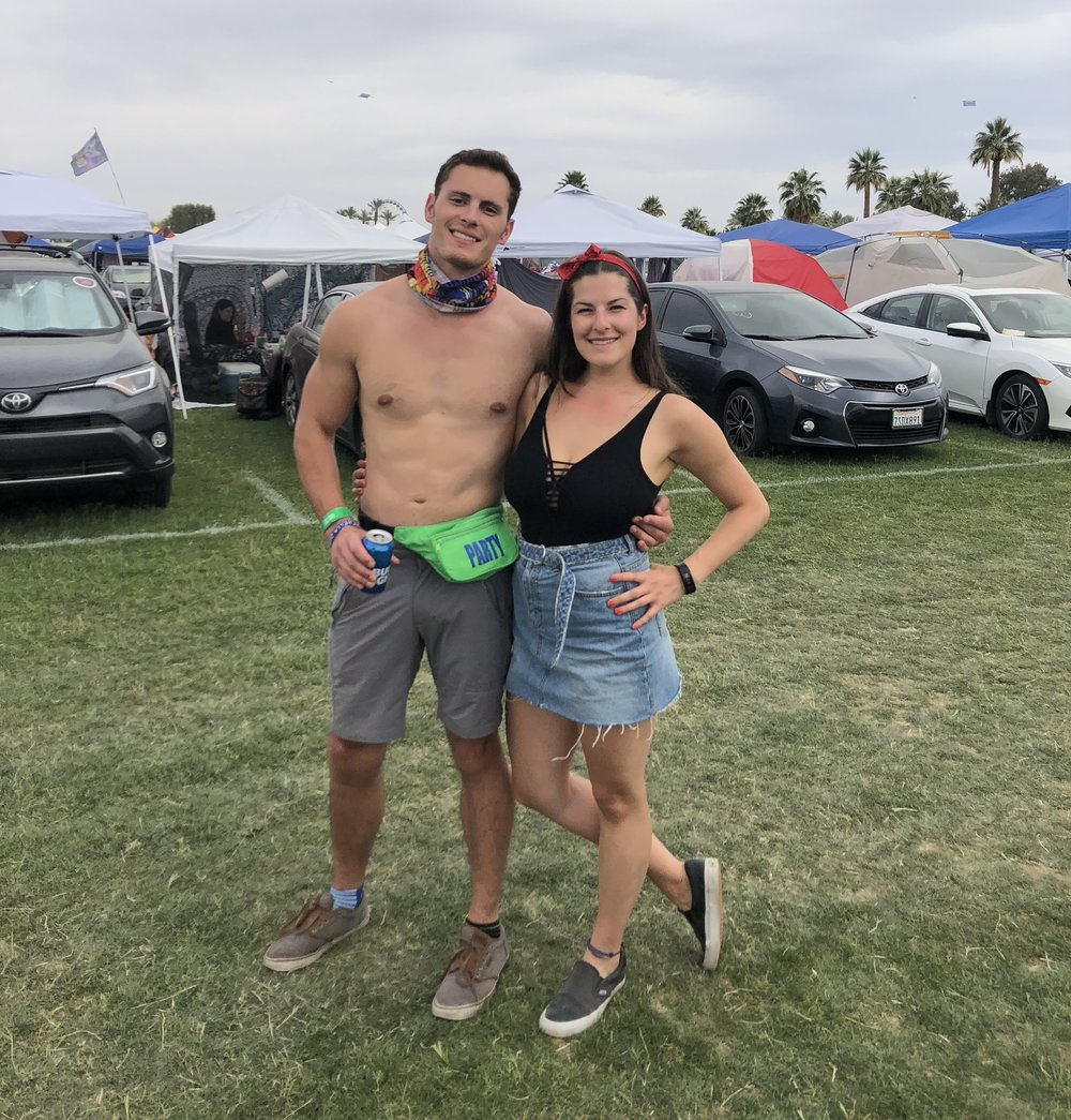 Coachella day three: smiling on the outside, crumbling on the inside. If only it were from a hangover.