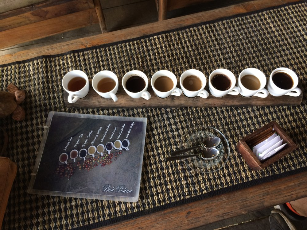When you buy a cup of luwak copi at Bali Pulina, you also get to taste test seven other teas and coffees!