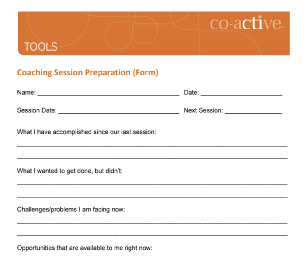 A screenshot of the Session Prep Form.