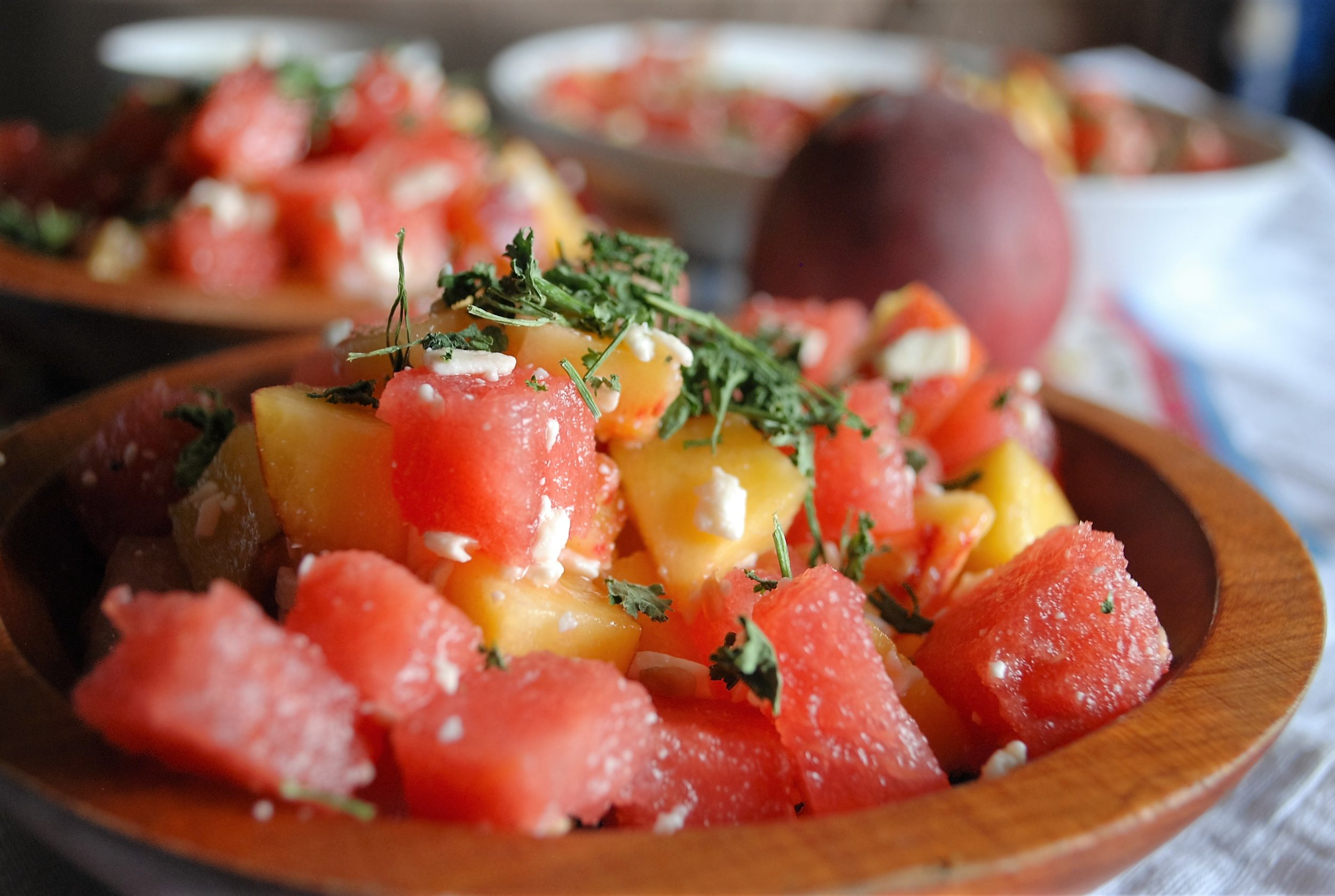 watermelon peach feta salad