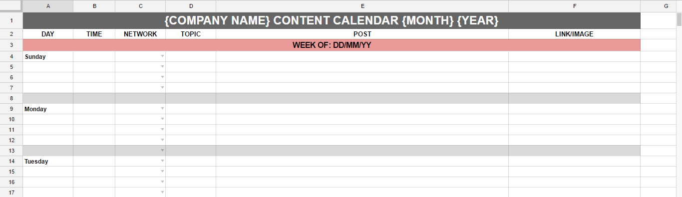 how to plan a week's worth of content