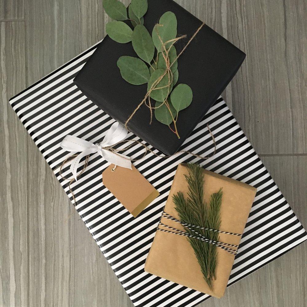 Black and White Striped Present