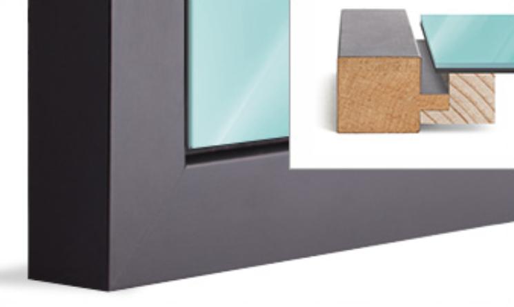 Float frame, solid wood