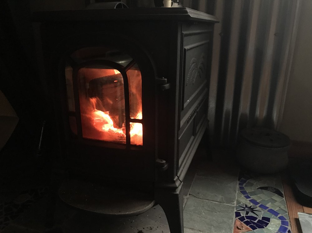Enjoying my last few days near the woodstove!