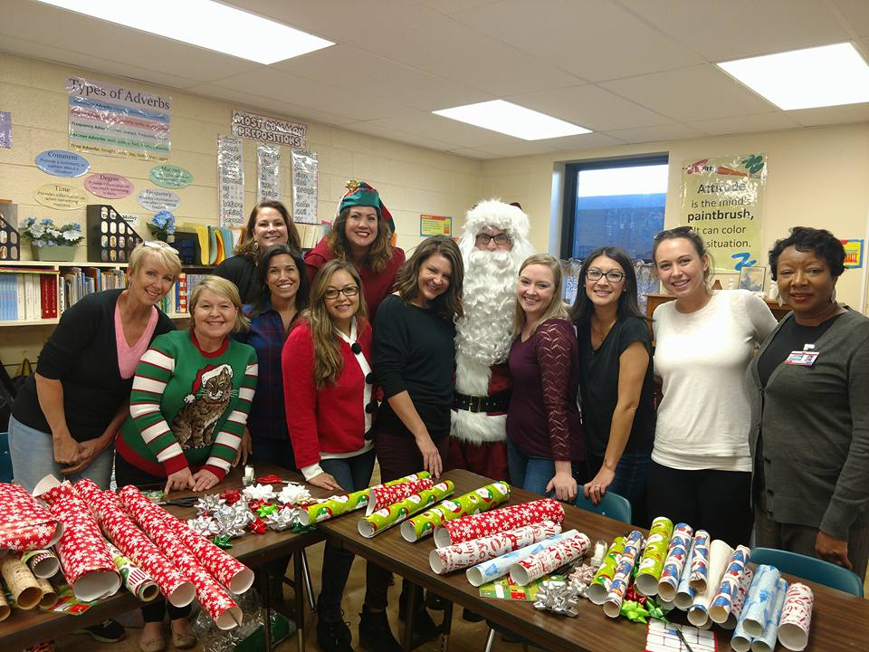 Santa's Helpers in the Gift Wrapping Station at Brooklyn Springs Elementary