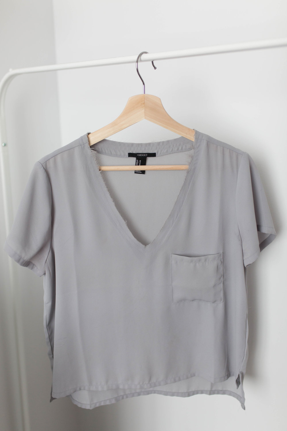 Forever 21 Frayed V-Neck Silk Blouse