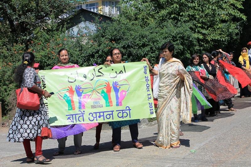 Aman yatra March through Dharamshala with Kashmir  Yatries.JPG