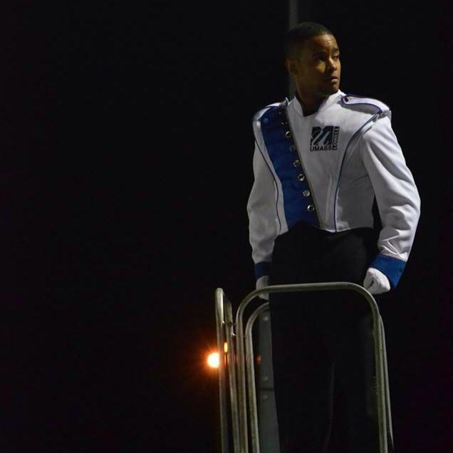 Miguel after a show with the UML Marching Band.