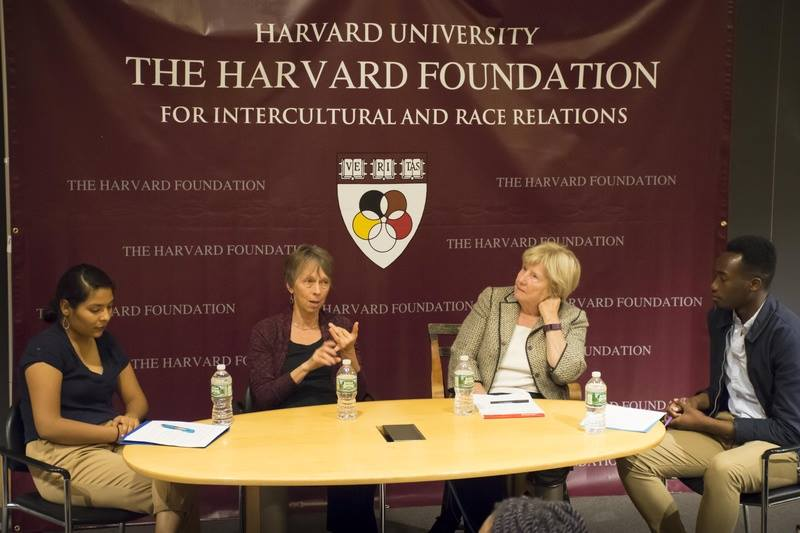 Nuha sitting on a panel for the Harvard Foundation on Intercultural and Race Relations.