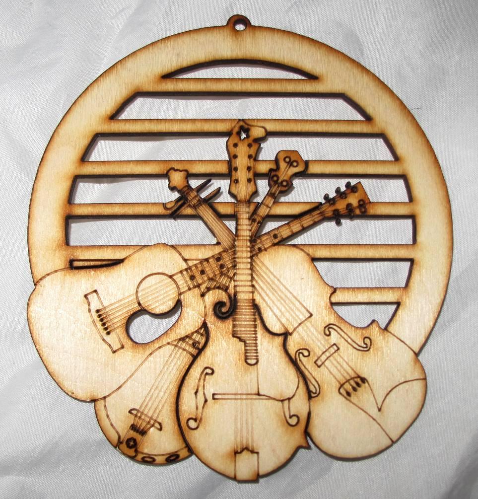 Mandolin, Fiddle Banjo & Guitar Wood Ornament