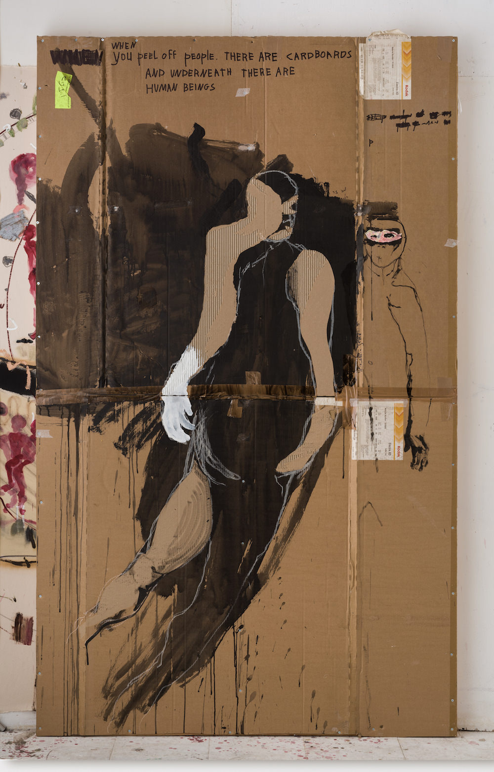 Untitled (Human), 2017, oil and ink on cardboard, 225x135cm-1.jpg
