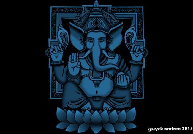 Lord Ganesh Blue Halftone