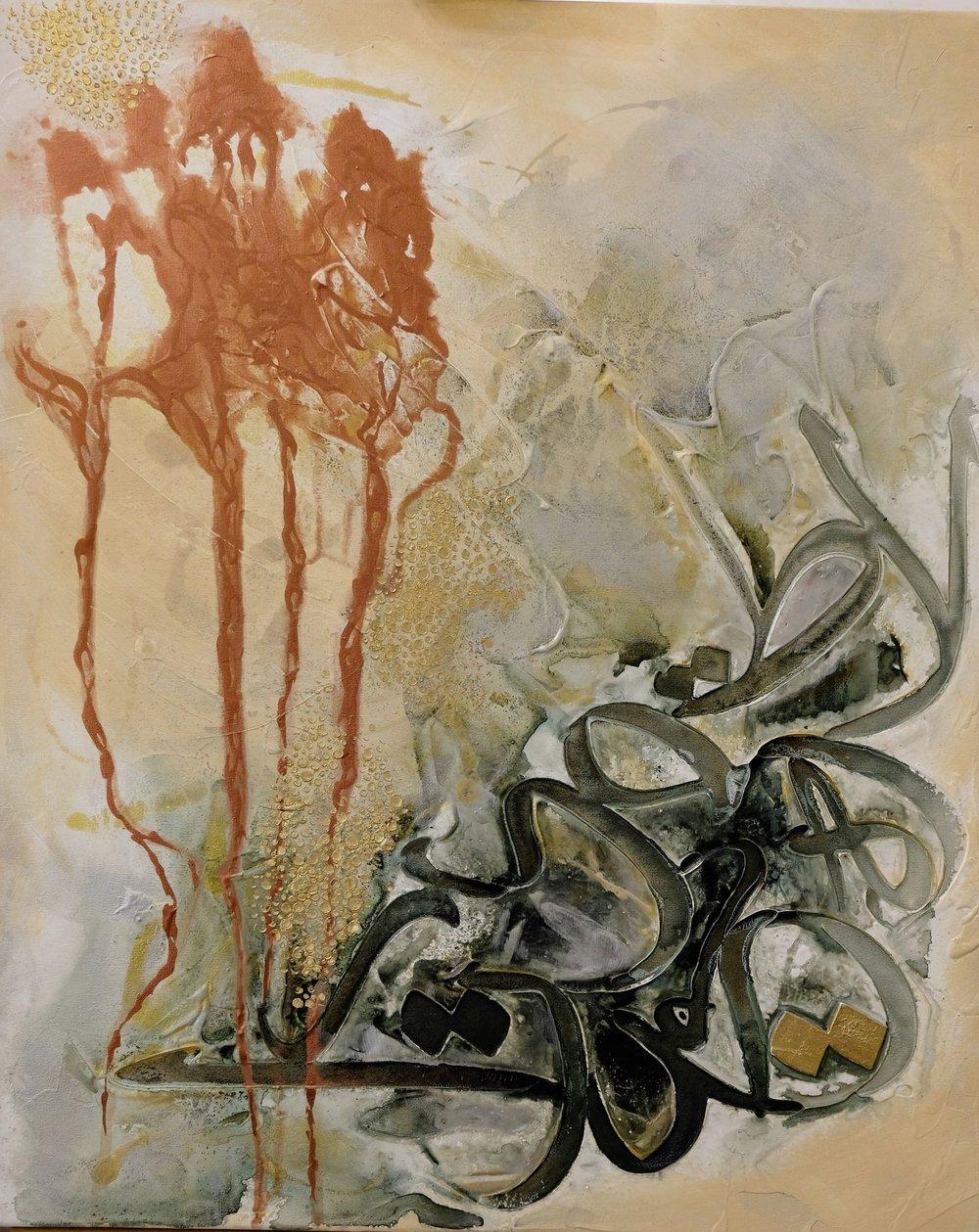 Size:  Medium: Acrylic on Canvas  Price 1200 AED