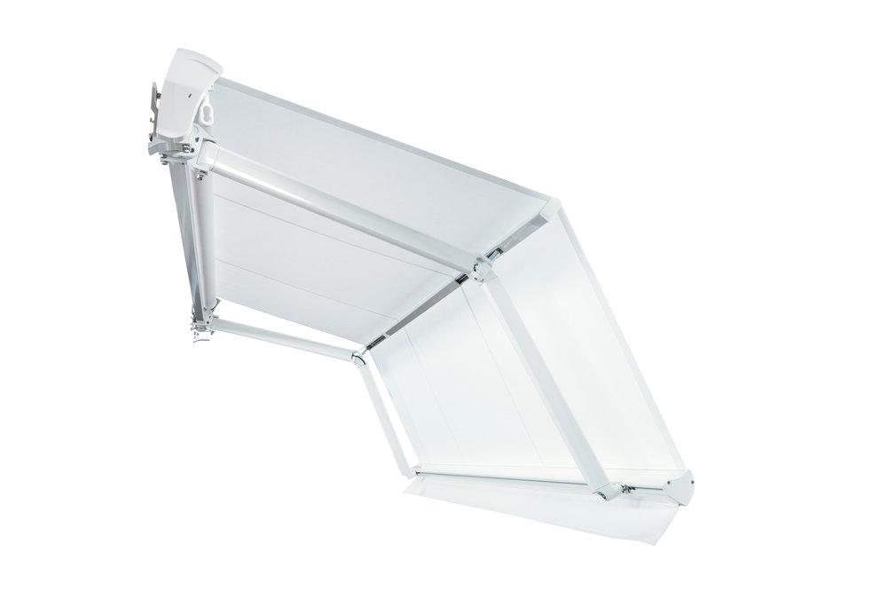 FOLD LINE - - Tenda con bracci a doppia inclinazione- Ideale per balconi con piccole sporgenze- Dimensioni max (L) cm 1200 x (Sp) cm 250