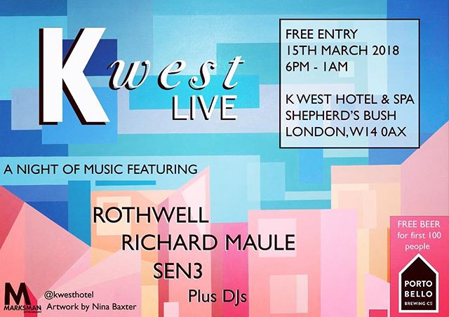 We are playing tomorrow @kwesthotel 7pm free entry and free beer for the first 100 people in 🍺🍺
