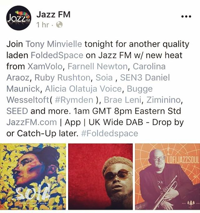 Tune in to @jazzfmuk tonight to hear some of our new music on #foldedspace with @tonyminvielle  1am (GMT) 8pm eastern std www.jazzfm.com