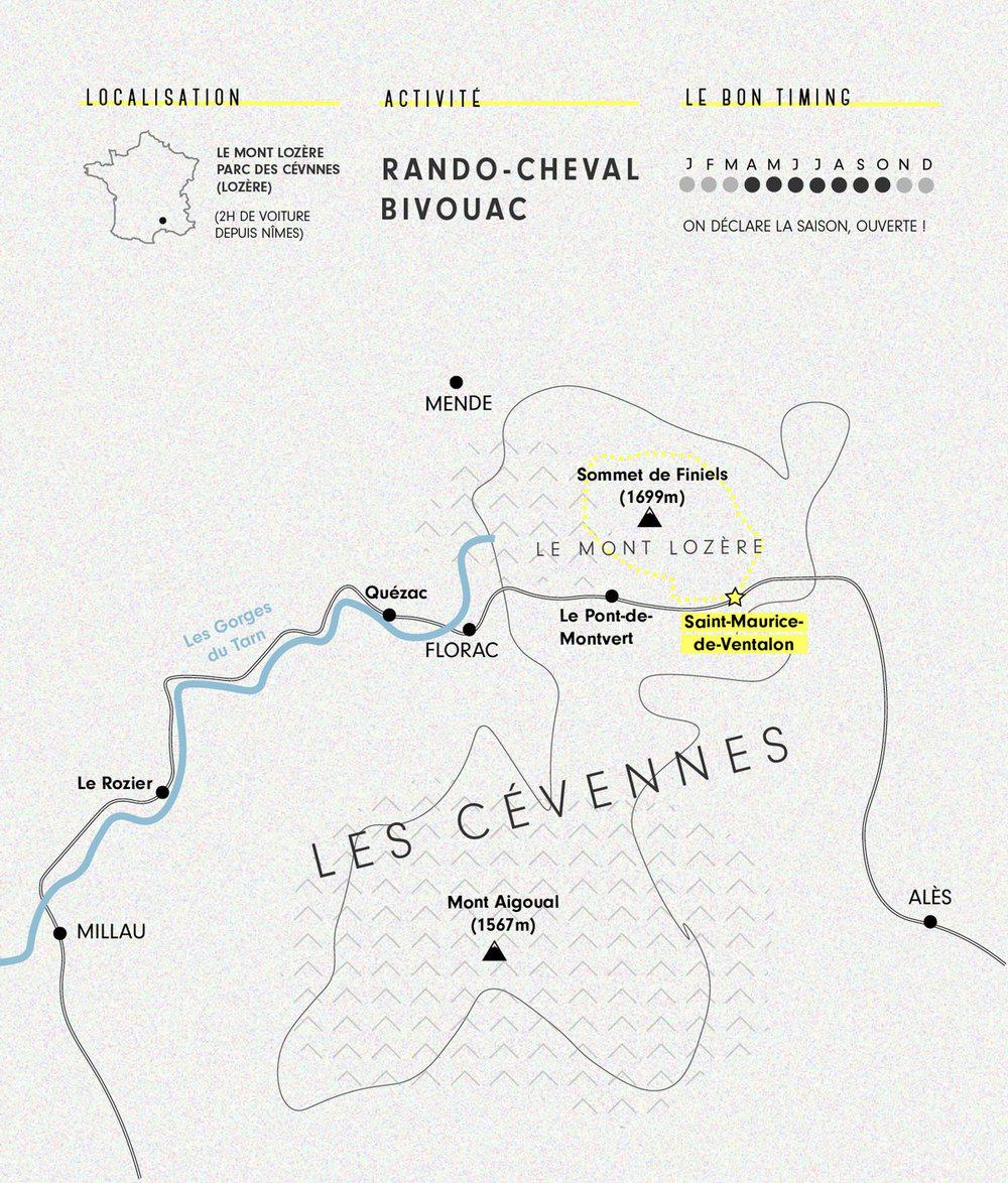 Cartographie Cévennes à cheval au Mont Lozère