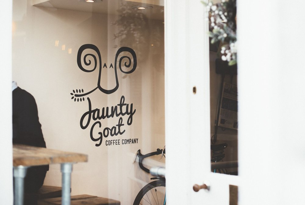 Photo of entrance to Jaunty Goat Coffee Shop