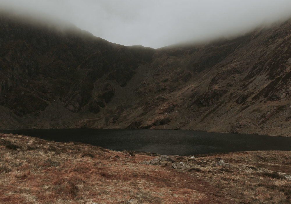 The lake atop Cadair Idris in North Wales - imagine this place in the summer! #skinnydipping