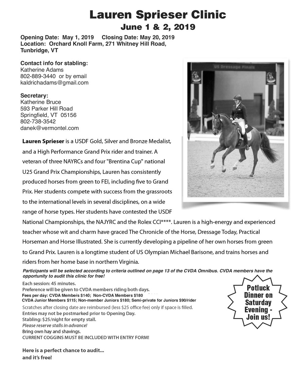 Click here for a printable entry form for the Lauren Spreiser clinic in June.