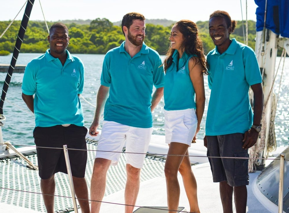 Yacht charter crew in uniform