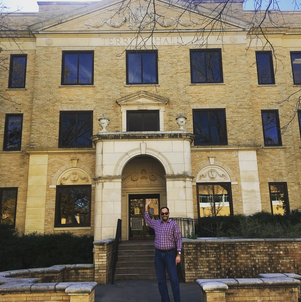 Visiting Terrill Hall at UNT where I found and studied Psychology - Photo Credit: Audrey White-November, 2017