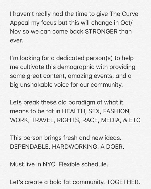 Hi!!! I'm looking for a partner(s) for The Curve Appeal. I can't do this alone!!! Lets create a bold fat community together!!! . . #fatacceptance #celebratemysize #dietculture #bodypositive #bodypositivity #bodypositiveyoga #fatpositive #fatpositivity #selflove #community #poc #woc #plussize