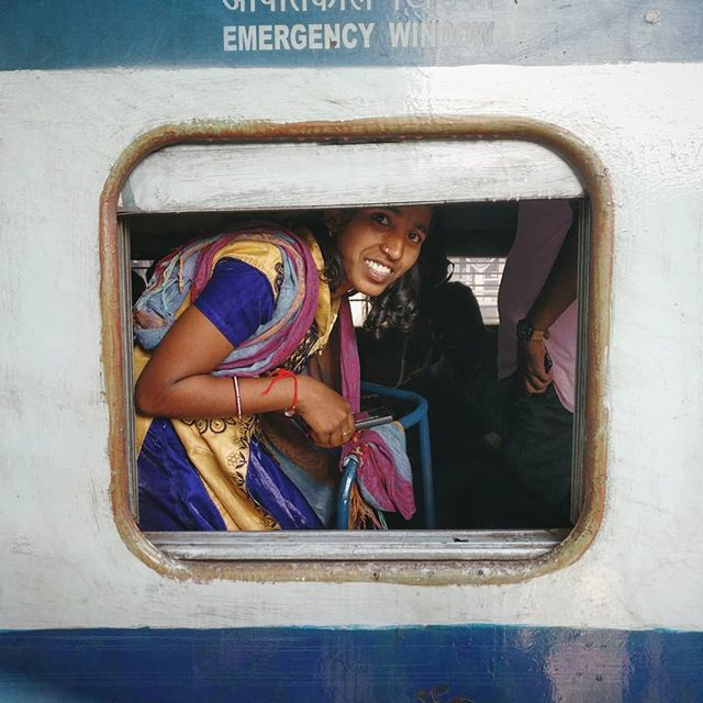 Sandhya's leg was amputated after it was crushed in a human stampede. Her village of Mothey, 100km outside of #Hyderabad, raised money so she could take the day-long journey to #Vizag to receive a free prosthetic leg during the Yatra, courtesy of @jaipurfoot  Here, Sandhya is pictured on the train platform in Vizag, heading back toward Mothey with a new leg and a new smile.