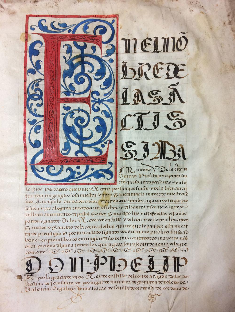 Documento de Felipe II, Archivo Histórico Diocesano de León.