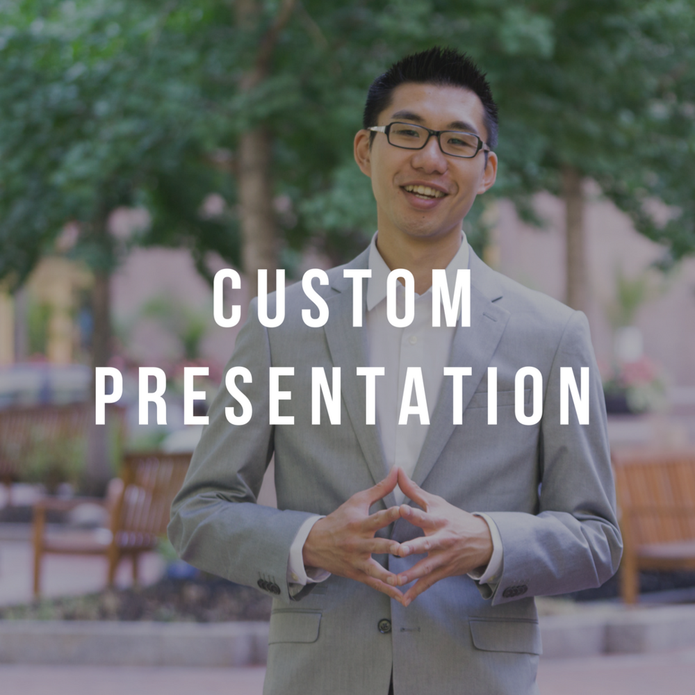 Custom Presentation - Need to customize a topic for your next event? Just ask! Let's work together to make sure that I can deliver the best value to your audience.