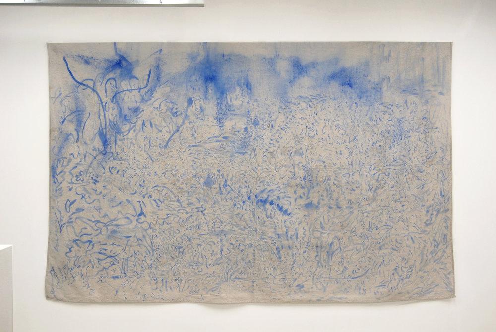 Fig. 2 Ricardo Morales-Hernández (b. San Juan, Puerto Rico), 1980  Soli Deo Gloria. SDG-016-400 , 2016 96 x 106 inches.Construction chalk and latex paint on raw canvas drop cloth.