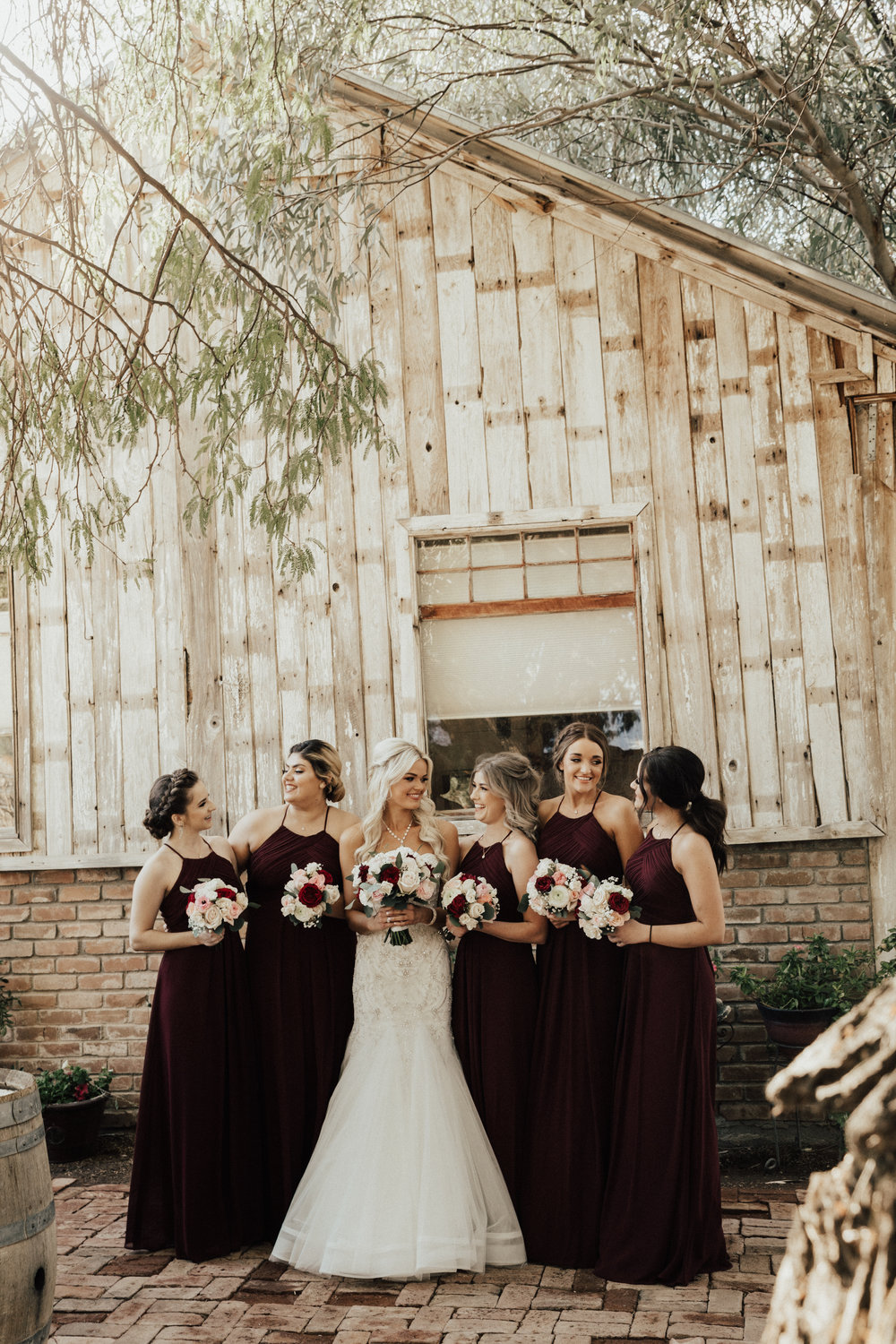 The bride, and bridesmaids.