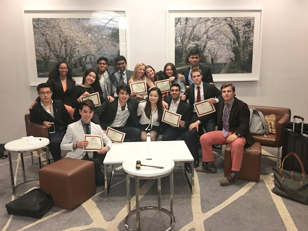 UPenn's intercollegiate Model UN team winning Best Large Delegation at Georgetown University.
