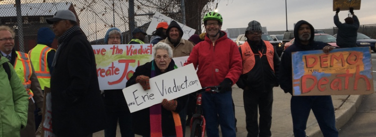 Protesters bring attention to dangerous intersection. (Image - Lisa Austin)