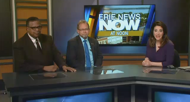 Rev. Mock and Adam Trott are interviewed by Eva Nastrinatteo during the Erie News Now noon show on Friday, Jan. 12, 2018.