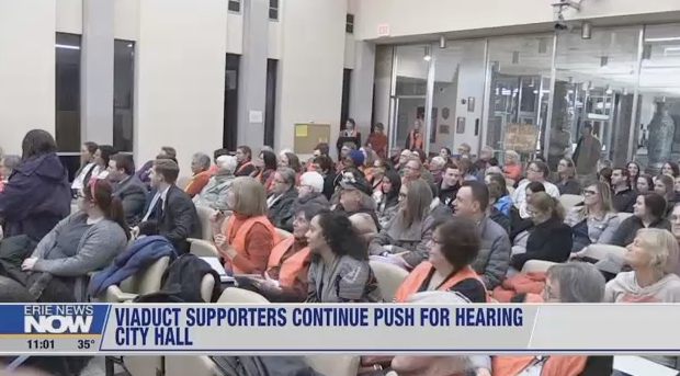 """The Feb. 21 City Council meeting was packed with residents calling for the first PUBLIC HEARING about the McBride Viaduct. As a candidate in 2017, Mayor Schember said he would """"not object"""" to a public hearing, and, City Council also agreed to hold a Public Hearing. But, both Schember, and some members of Council reversed their position in 2018."""